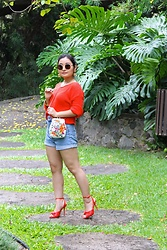 Kristen Tanabe - Forever 21 Orange Sweater, Zara High Waisted Denim Shorts, Zara Orange Heels, Zara Embellished Floral Crossbody Purse, Saint Laurent Round Sunglasses - Sunny & Summery