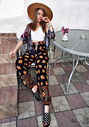 Karina Bogdan - Hat, Bralette, Zara Shirt, Pants, Sasha Flats, Michael Kors Watch - Not in Italy.