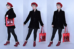 Suzi West - Estate Sale Vintage French Beret, Suzi West Model Barbie Hand Earrings, Thrift Store Vintage Silk Velvet Jacket, Bdg Skinny Jeans, Momiji Peskimo Vinyl Bag, Born Concepts Booties - 11 November 2017