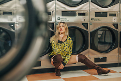 Caitlyn Sway - Banana Print Sweatshirt, Over The Knee Riding Boots - To Find Love in a Laundromat