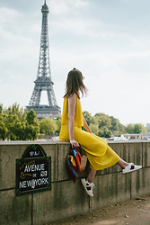 Andreea Birsan - Midi Yellow Pleated Dress, Mini Straw Bag, Striped Scarf, Ace Heart Embroidered Sneakers - Paris