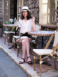 Claire H - Panama Hat, H&M White Blouse, Mime Et Moi Black Valley Flats - 5 Summer heroes