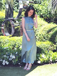 Claire H - Reformation Silk Dress, Zara Golden Mules, Frey Wille Bracelet - Dior Des Lices