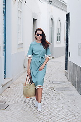 Lina . - Shein Aqua Dress, Bespoke Lisbon Sunglasses - AQUA DRESS