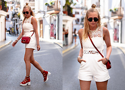 Sunnyinga - Kapten&Son Sunglasses, Boohoo Playsuit, Zara Bag, Boohoo Heels - Ibiza Outfit: White Playsuit x Red Heels & Bag