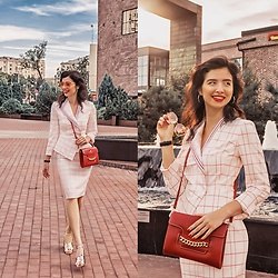 Natasha Karpova - Franco Pugi Red Bag, Caterina Leman Plaid Blazer, Caterina Leman Plaid Skirt, Dolce & Gabbana Rose Gold Sunglasses, Stradivarius Sandals, Daniel Wellington Watch, Concept Club Hoop Earrings - BACK TO OFFICE