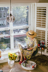 Andreea Birsan - Straw Boater Hat, Yellow Midi Floral Dress, Red Espadrilles - Monday vibes