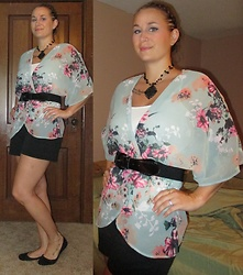 Erin Solberg -  - Floral Kimono and Shorts