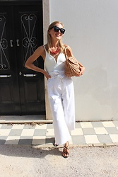 Anna Borisovna - Céline Sunglasses, H&M Necklace, H&M Body, Zara Pants, Mango Shoes - White Look