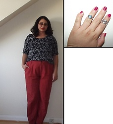 Selina - Self Made Floral Print T Shirt, Pull & Bear Orange Trousers, Zaful Rings - Wolfsbane