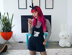 La Carmina - LaCarmina.com - Print All Over Me Skull Overalls Shorteralls, Chinti And Parker Striped Sailor Miffy Top, Uk Tights Black Fishnets Fishnet - La Carmina birthday outfit! Long goth pink hair Lacarmina