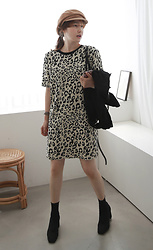 Miamiyu K - Miamasvin Leopard Pattern Shift Knit Dress - Fierce Statement