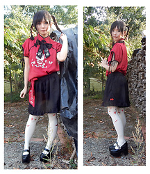 Nowaki Selenocosmia - Origami Tights, Chinese Inspiration Set Up, Bodyline Black Lolita Shoes - Chinese cat variation
