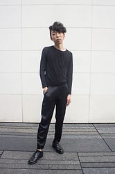 Samuel Oh - Zara Pleated Shirt, Zara Glossy Pants - PLEATS PLEASE