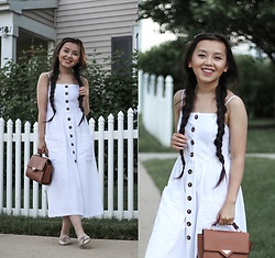 MC Y - Forever 21 White Front Button Dress - White Button Dress || Summer Outfit