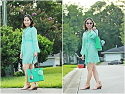 Hanh Nguyen -  - Turquoise Blue Lace Dress