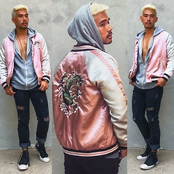 Ken Navarro - Pheonix Bomber Jacket, Sleeveless Zip Up Hoodie, Black Indigo Jeans - Pink is the Flavor