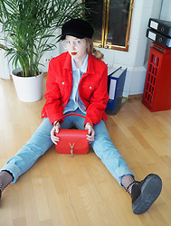 Noora V - H&M Red Denim Jacket, H&M Baby Blue Corduroy Jacket, American Apparel Jeans, Mario Valentino Bag, Underground Leather Creepers, H&M Fishnet Socks, Zara Hat, H&M Glasses - The Palest of Blues