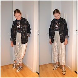 Mucha Lucha - H&M Denim Jacket, H&M T Shirt, H&M Trousers, Converse Sneakers - Comfy Monday