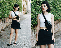Adriana R. - Dresslily Quilted Chest/Belt Bag, Zaful Black Denim Skirt - Styling a Belt Bag For The First time