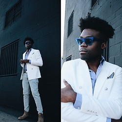 Vernon M. - Zara White Double Breasted Blazer, Forever 21 Skinny Jeans, Celine Sunglasses - This past 4th of July
