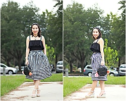 Hanh Nguyen -  - Black and White Gingham Skirt