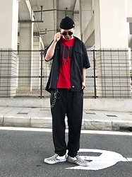 ★masaki★ - Obey Beanie, Dickies Work Shirts, Black Flag Tee, Ch. Dun Trousers, Vans Slipon - Today's outfit