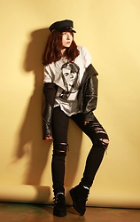 Jane Zubova - Asos Bakerboy Cap, Asos Leather Jacket, Tripp Nyc Jeans, T.U.K. Footwear Creepers - Love Cobain