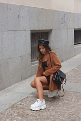 Claudia Villanueva - Zara Cap, Stradivarius Blazer, Boohoo Top, Shein Backpack, Buffalo London Sneakers - Black & Brown Combo