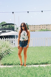 Natalie C - American Eagle Outfitters High Wasited Denim Shorts, Riff Raff Blooming Cactus Top, Chinese Laundry Wedges, Guess Sunnies - Blooming Cactus