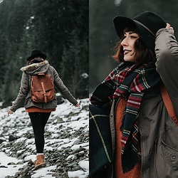 Mackenzie S - Brixton Wool Fedora, Free People Lofty V Neck, Embrazio Renaissance Leather Backpack, H&M Padded Parka, Ll Bean Boot, Old Navy High Rise Compression Leggings, Plaid Blanket Scarf - Embracing the Pacific Northwest