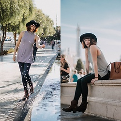 Mackenzie S - Anthropologie Mockneck Stripped Tank, Madewell Medium Transport Tote, The Frye Company Leslie Bootie, Gap Super High Rise Skinny Jeans, Brixton Wool Hat - Viva Las Vegas