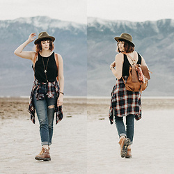 Mackenzie S - Danner Boots Mountain Light Cascade Hiking Boot, Gap Distressed Girlfriend Jeans, Free People Tank Top, Brixton Wool Fedora, H&M Plaid Flannel, Embrazio Renaissance Leather Backpack - Walking Through the Shadow of The Valley of Death, Literally