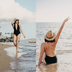 Mackenzie S - American Eagle Outfitters Aerie Plunge Neck One Piece, Brixton Straw Fedora - Vacation Vibes, and V-Necks