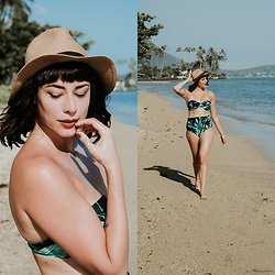 Mackenzie S - Old Navy High Waist Bikini Bottom, Old Navy Underwire Bikini Top, Brixton Straw Fedora - I Like Long Walks on the Beach, and High-Waisted Bikinis