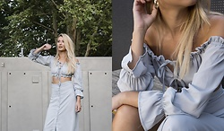 Sofija Surdilovic - Shein Tie Detail Crop Bardot Top & Buttoned Skirt Set - Glam it up gipsy!
