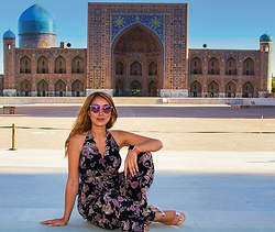GlamDiva - American Apparel Jumpsuit, Aldo Flats - Magical Silk Road in Samarkand