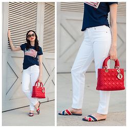 Lisa Valerie Morgan - Christian Dior Bag, Mott & Bow Jeans, Ralph Lauren T Shirt, Sandals - White Jeans for Labor Day + Revolve Clothing Giveaway