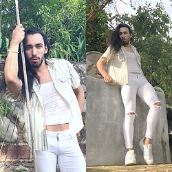 Hð†k裏ßð¥ TOO GALM TO GIVE A DAMN - Asos White Súper Skintight Jeans, Zara Striped Shirt, Adidas Trainers - Country Boy🌿
