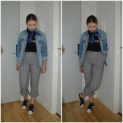 Mucha Lucha - H&M Denim Jacket, Bershka T Shirt, Topshop Trousers, Adidas Sneakers - Cute trousers