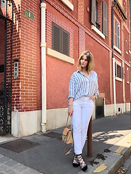 The laid-back girl Léa - Monoprix Shirt, Diesel White Jeans, Chloé Backpack, Isabel Marant Ballet Flats - White jeans and linen shirt