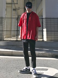 ★masaki★ - Kollaps Japanese Cap, Dickies Oversized Work Shirts, The/End Skinny Jeans, Vans Oldskool - Black & Red