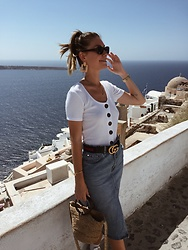 Marion Style - Zara Top, Zara Skirt, Gucci Belt, Zara Bag, Zara Earrings - Santorini