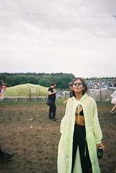 Diane Landers - Forever 21 Neon Rain Coat, Nike Black Tracksuit, Prettylittlethings Black Bikini Top, Boomtown Retro Sunglasses - Boomtown Festival