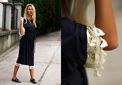 Sofija Surdilovic - Shein Sequin And Tassel Detail Belted Dress - Tassel detailed