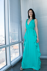 Gi Shieh - Bcbg Turquoise Gown, Thrifted Silver Collar, Aldo Strappy Wedges - Formal Tuesdays