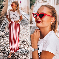 Madara L - Asos Paperbag Maxi Skirt, Ebay Retro Sunglasss, Daniel Wellington Silver Watch - Stripes in Prague