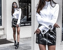Kristina - Too Damn Expensive White Jacket Blouse, Forever21 (Similar) Black Vinyl Mini Skirt, Senso Boots - You don't own me, but you can try