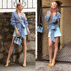 Svetlana Pershyna - Sergio Rossi Yellow Heels, Zara Shirt, Gucci Blue Bag, Roberto Bravo Butterfly Earrings, Hublot Watch - Simple blue