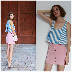 Laurielle Haze - Pepaloves Blue Striped Top, Zaful Pink Corduroy Skirt, Pepaloves Milk Bag - Mood For Love